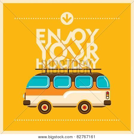 Holiday background with retro van. Vector illustration.