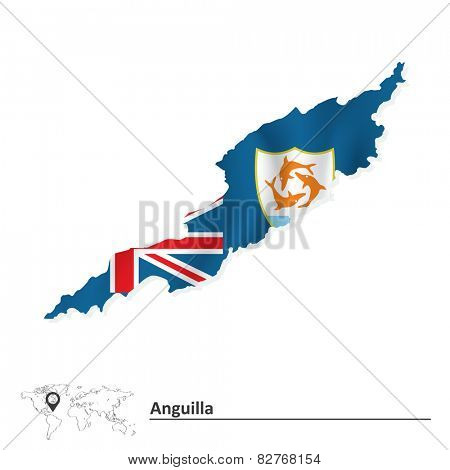 Map of Anguilla with flag - vector illustration