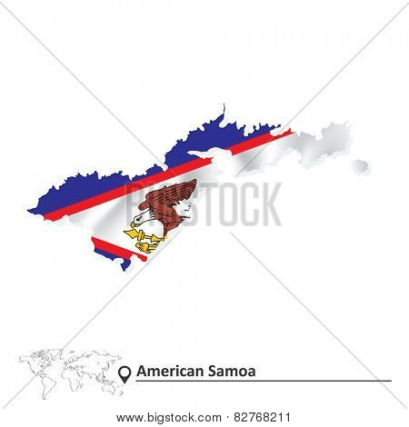 Map of American Samoa with flag - vector illustration