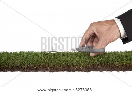 Businessman is preparing the green . Metaphor for service and perfection. With copy space