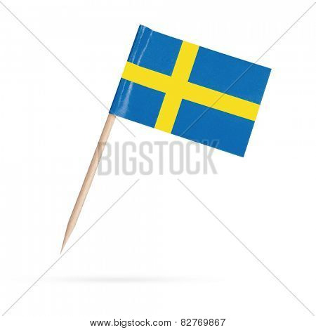 Miniature paper flag Sweden. Swedish Flag Isolated on white background. With shadow below