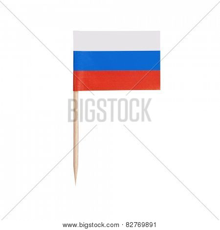 Miniature Flag Russia. Small Paper toothpick Russian flag . Isolated on white background