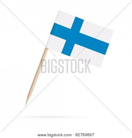 Miniature paper flag Finland. Isolated on white background. With shadow below