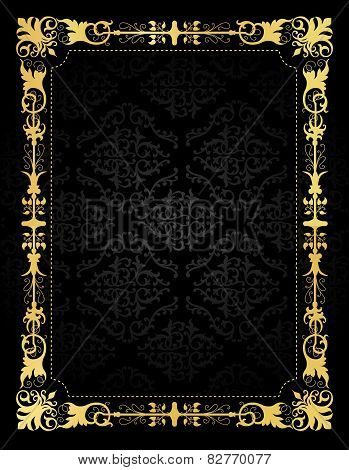 Invitation Card Ornamental Frame And Damask Background