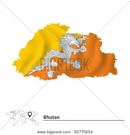 Map of Bhutan with flag - vector illustration
