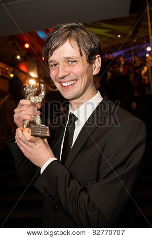 BERLIN, GERMANY - FEBRUARY 14: Sturla Brandth Grovlen,  silver bear for best camera on stage. Closing Ceremony. 65th Berlinale at Berlinale Palace on February 14, 2015 in Berlin, Germany.