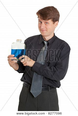Cheerful Man With Vial Of A Blue Liquid