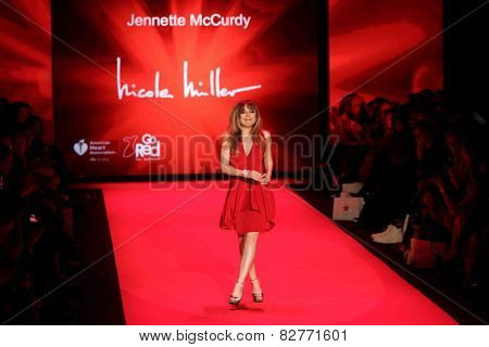 NEW YORK-FEB 12: Jennette McCurdy wears Nicole Miller at Go Red for Women - Heart Truth Red Dress Collection during Mercedes-Benz Fashion Week at Lincoln Center on February 12, 2014 in New York City.