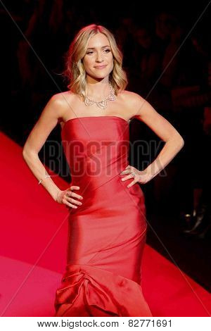 NEW YORK-FEB 12: Kristin Cavallari wears Monique Lhuillier at Go Red for Women-Heart Truth Red Dress Collection at Mercedes-Benz Fashion Week at Lincoln Center on February 12, 2014 in New York City.