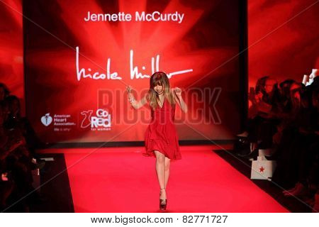 NEW YORK-FEB 12: Jennette McCurdy wears Nicole Miller at Go Red for Women - The Heart Truth Red Dress Collection at Mercedes-Benz Fashion Week at Lincoln Center on February 12, 2014 in New York City.