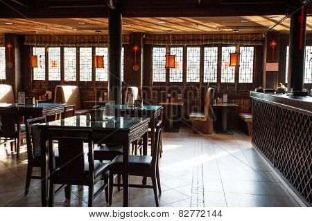 Wuzhen,China-February 8,2015:traditional chinese restaurant interior in Wuzhen.