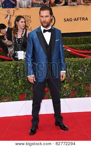 LOS ANGELES - JAN 25:  Matthew McConaughey arrives to the 21st Annual Screen Actors Guild Awards  on January 25, 2015 in Los Angeles, CA