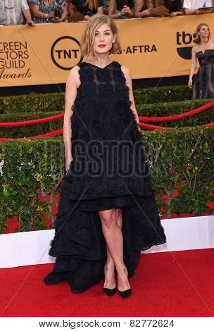 LOS ANGELES - JAN 25:  Rosamund Pike arrives to the 21st Annual Screen Actors Guild Awards  on January 25, 2015 in Los Angeles, CA