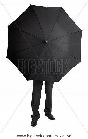 Man Hid Behind Large Black Umbrella