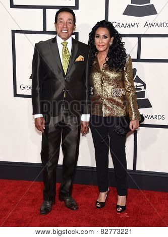 LOS ANGELES - FEB 08:  Smokey Robinson & Frances Glandney arrives to the Grammy Awards 2015  on February 8, 2015 in Los Angeles, CA