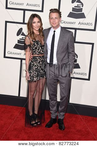 LOS ANGELES - FEB 08:  Ryan Tedder & Genevieve Tedder arrives to the Grammy Awards 2015  on February 8, 2015 in Los Angeles, CA