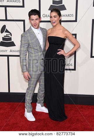 LOS ANGELES - FEB 08:  Nick Jonas & Olivia Culpo arrives to the Grammy Awards 2015  on February 8, 2015 in Los Angeles, CA