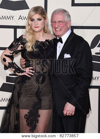LOS ANGELES - FEB 08:  Meghan Trainor & Gary Trainor arrives to the Grammy Awards 2015  on February 8, 2015 in Los Angeles, CA