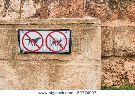 No Pets Allowed Signs on Old Textured Wall