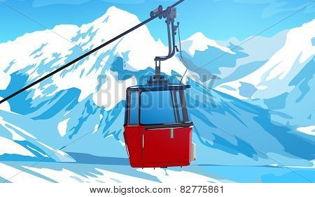 Cableway in Swiss Alps at winter. EPS 10 format.