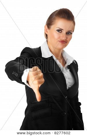 modern business woman showing thumbs down gesture