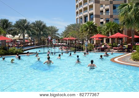 Morning Exercise In The Pool. Abu Dhabi. The United Arab Emirates