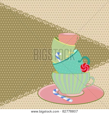 colored mug with sweets