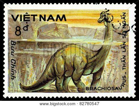 Vintage  Postage Stamp. Brachiosaurus.