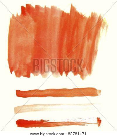 Orange watercolor elements for design