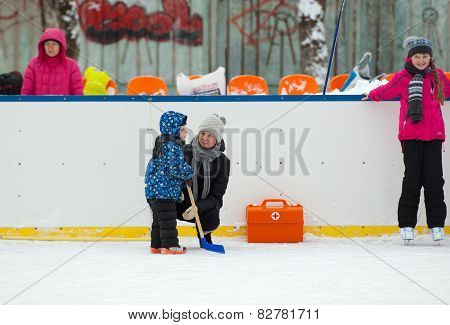 Mother And Her Hockey Player