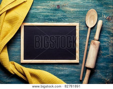 Yellow Towel, Wooden Spoon, Rolling Pin