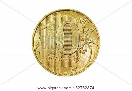 Isolated 10 rubles coin