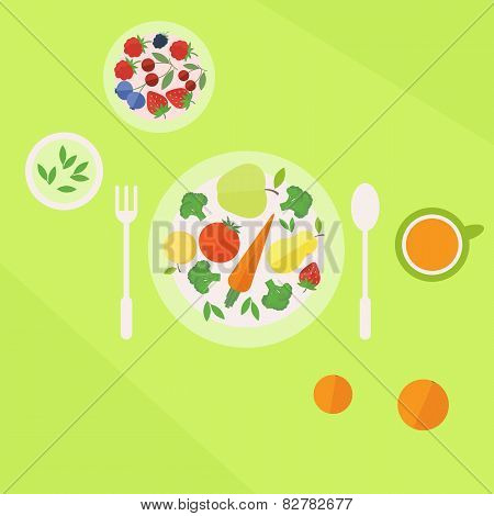 Plate With Vegetables Fruits And Glass Of Juice On A Table. Vegetarian Food Concept