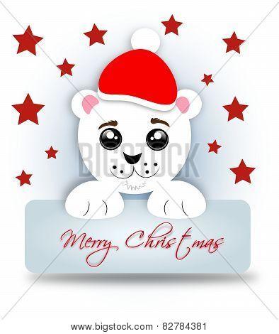 Santa Bear With Label Merry Christmas