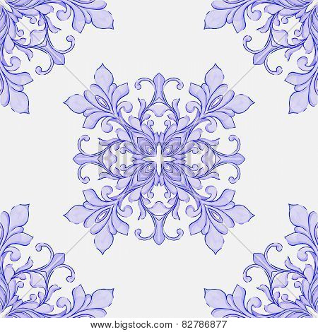 Barocco watercolor seamless lace ornament