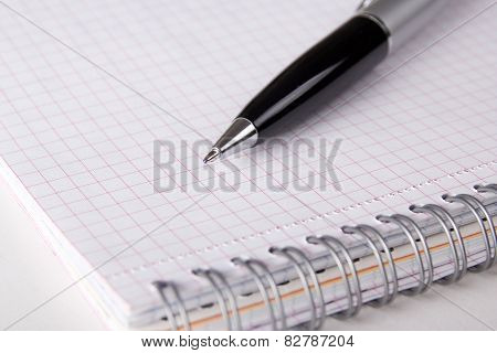 Note Book With Checked Pages And Pen