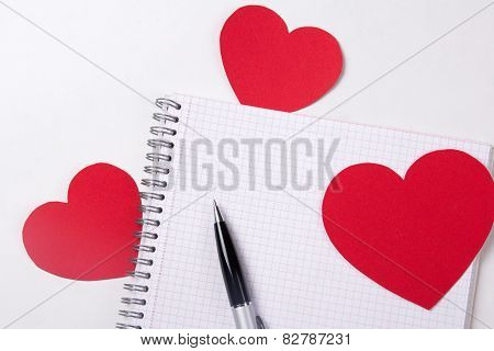 Love Letter Concept - Note Book With Pen And Paper Hearts