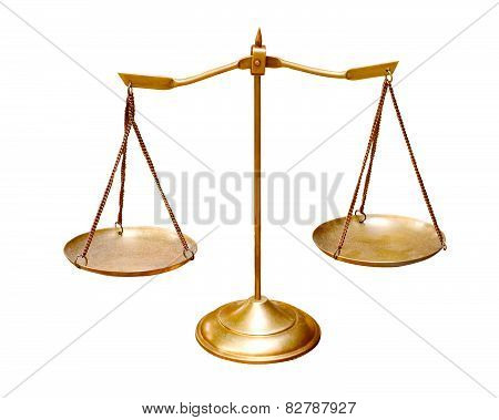 Gold Brass Balance Scale Isolated On White Background Use For Multipurpose Object
