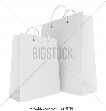 Empty bags isolated on white background