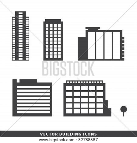 set of vector office buildings, apartments