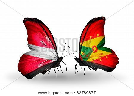 Two Butterflies With Flags On Wings As Symbol Of Relations Latvia And Grenada