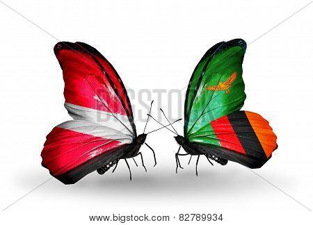 Two Butterflies With Flags On Wings As Symbol Of Relations Latvia And Zambia