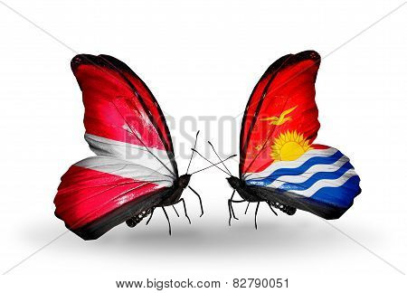 Two Butterflies With Flags On Wings As Symbol Of Relations Latvia And  Kiribati
