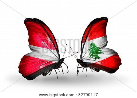Two Butterflies With Flags On Wings As Symbol Of Relations Latvia And Lebanon