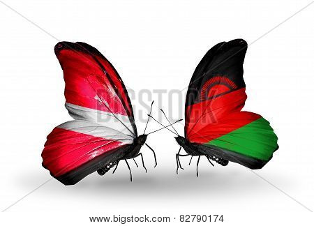 Two Butterflies With Flags On Wings As Symbol Of Relations Latvia And Malawi