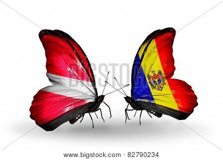 Two Butterflies With Flags On Wings As Symbol Of Relations Latvia And Moldova
