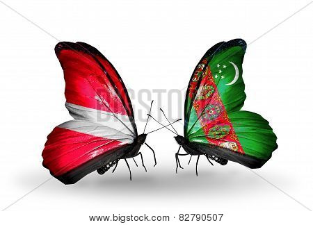 Two Butterflies With Flags On Wings As Symbol Of Relations Latvia And Turkmenistan