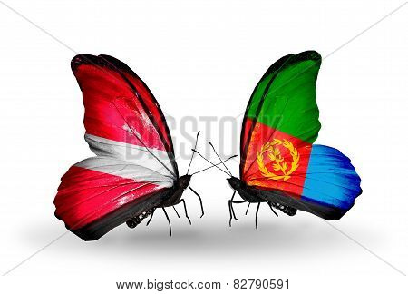 Two Butterflies With Flags On Wings As Symbol Of Relations Latvia And Eritrea