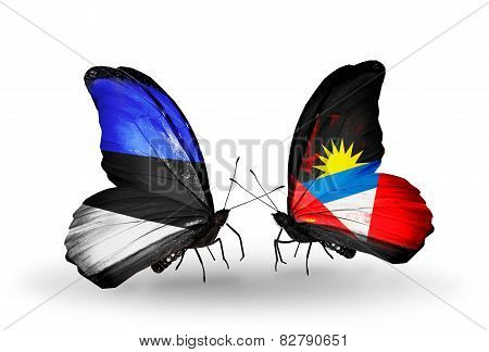 Two Butterflies With Flags On Wings As Symbol Of Relations Estonia And Antigua And Barbuda