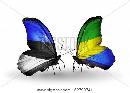 Two Butterflies With Flags On Wings As Symbol Of Relations Estonia And Gabon